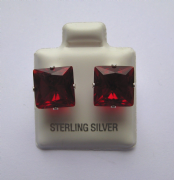 9mm square Princess cut Garnet Cubic Zirconia Sterling silver Stud earrings